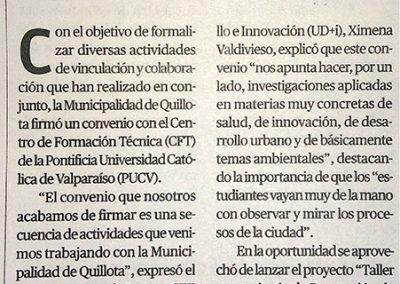 Noticia convenio CFT PUCV y MUNICIPALIDAD DE QUILLOTA