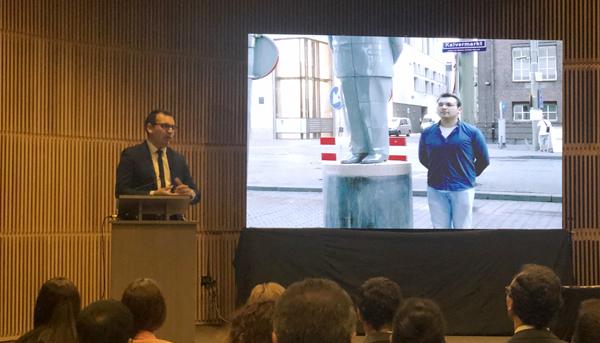 Paulo Solar, titulado de TNS en Transporte del CFT PUCV expone su experiencia en el lanzamiento del Programa Becas Técnicos para Chile