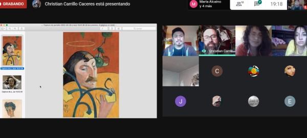 Artista visual Christian Carrillo realizó taller de autorretrato para estudiantes de TNS en Trabajo Social del CFT PUCV Campus Limache