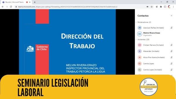 Dirección del Trabajo de la Provincia de Petorca dictó seminario en línea sobre Legislación Laboral