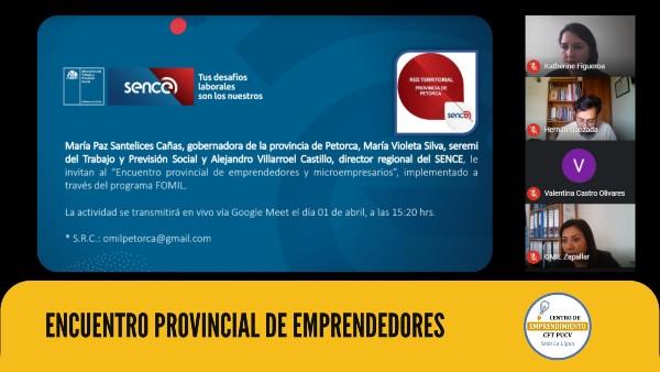 Centro de Emprendimiento CFT PUCV Sede La Ligua expuso las tareas y herramientas desarrolladas para apoyar a las pymes de la Provincia de Petorca